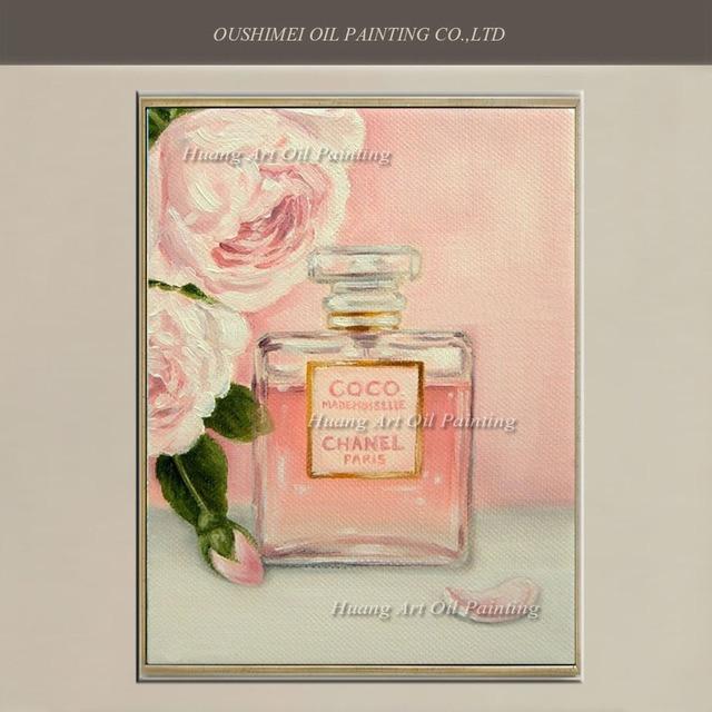 Handgemalte Moderne Rose Und Parfüm Ölgemälde Rosa Warme Und Süße Malerei  Auf Leinwand Für Schlafzimmer Wand