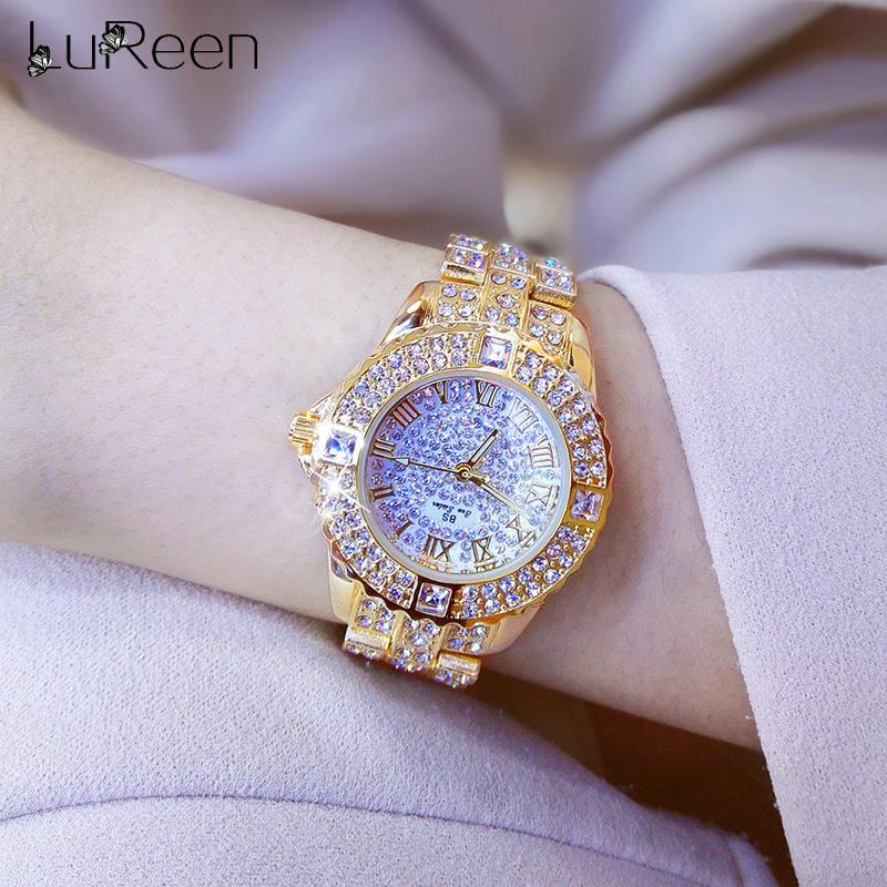 Lureen  Luxury Full Diamond Quartz Watch For Women Men Waterproof Hip Hop Iced Out Round Watches Gold Color Wristwatch GiftLureen  Luxury Full Diamond Quartz Watch For Women Men Waterproof Hip Hop Iced Out Round Watches Gold Color Wristwatch Gift