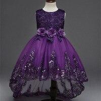 Flower Girl Dress Kids White Wedding Dresses Bridesmaids Girls Lace Dress Sequins Sleeveless High Low Princess