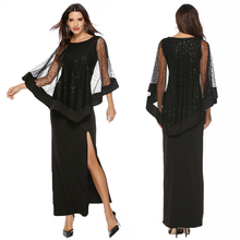 Commuter sequins solid color lace slim split skirt round neck high waist dress skirt shawl shawl two-piece dress free shipping цена