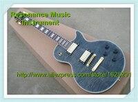 최고 판매 그레이 퀼팅 최고 바인딩 기타 바디 LP 사용자 정의 블록 상감 전기 기타 중국 왼손잡이 재고