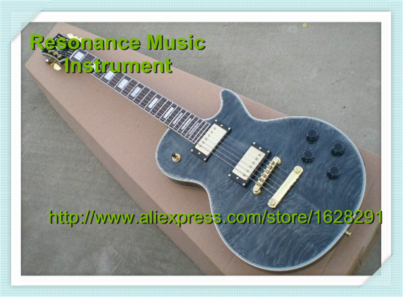 Top Selling Grey Quilted Top Binding Guitar Body LP Custom Block Inlay Electric Guitar China Left Handed Available In Stock high quality vintage green lp custom model electric china guitar with gold hardware left handed available