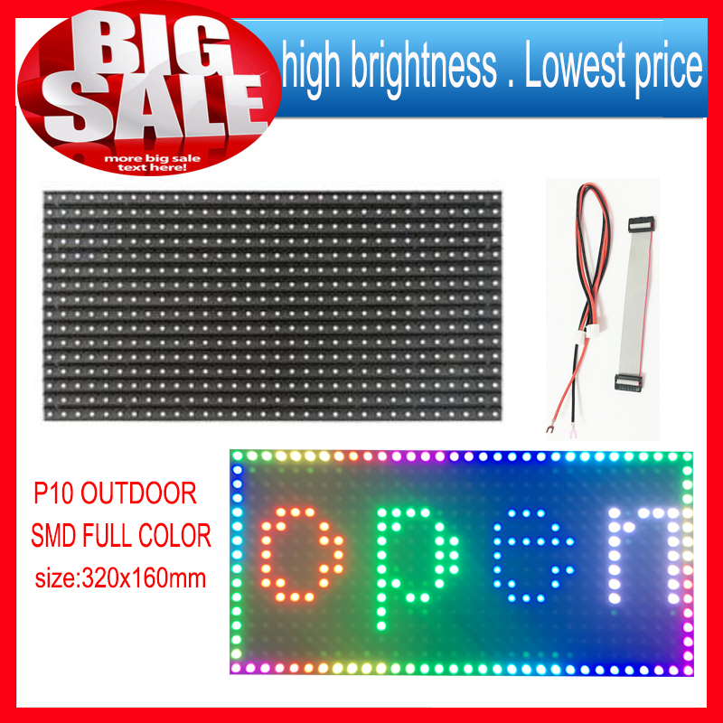 High brightness P10 SMD Outdoor 1 unit led module Full color  Programmable LED Scrolling Display size is 320*160mm   1/4 scans