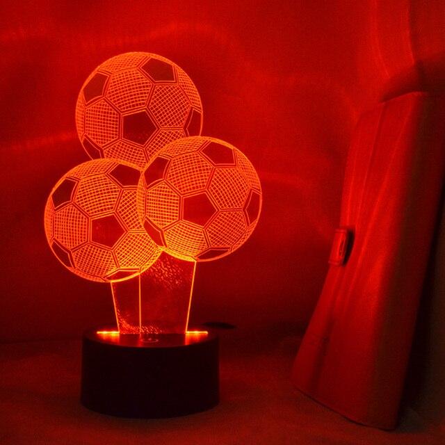 3D Fußball Nacht Led Lampe USB Tischlampe 7 Farbe Transformation Hause Schlafzimmer  Dekoration Lampe Durch