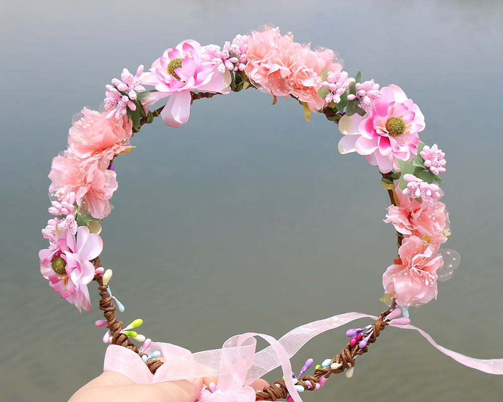 Buy Pink Colorful Fabric Wreath Flower