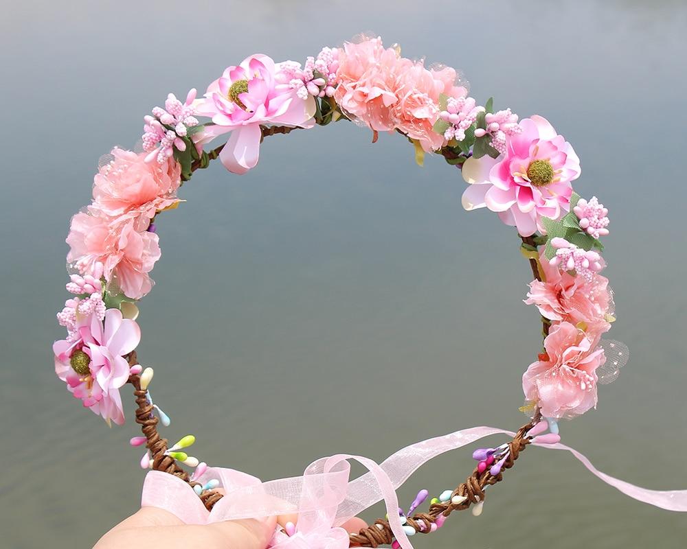Pink Colorful fabric Wreath Flower halo Bridal Floral Crown Hair Wreath wedding headpiece Woodland Rustic Mermaid wreath fresh water pearls bridal headband crown rhinestone beaded wedding headpiece brides hair jewelry
