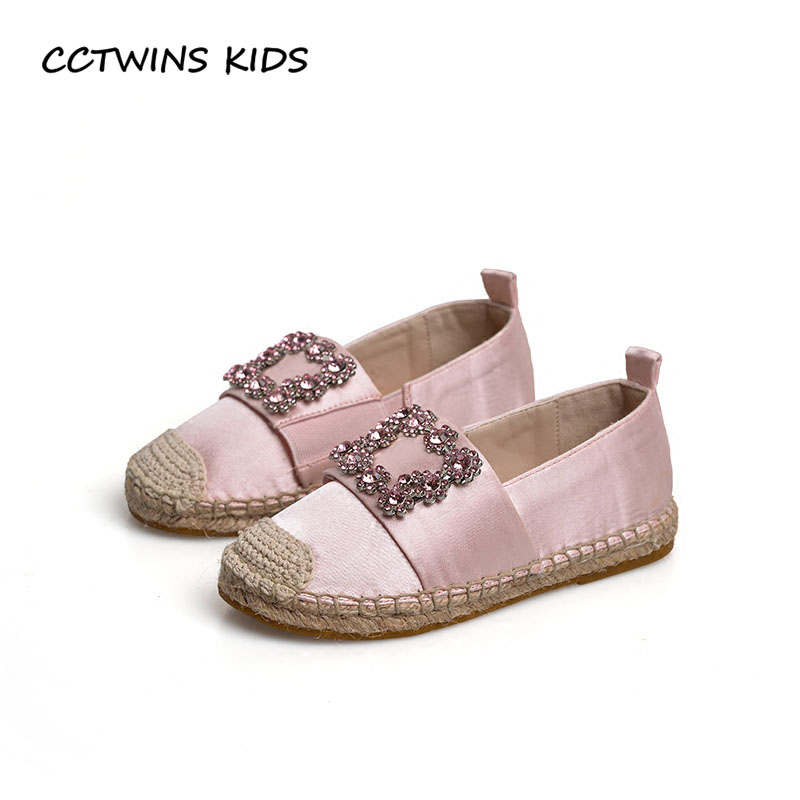 CCTWINS KIDS 2017 Toddler Fashion Rhinestone Slip On Shoe Children Black Espadrille Baby Girl Pu Leather Pink Crystal Flat G1421
