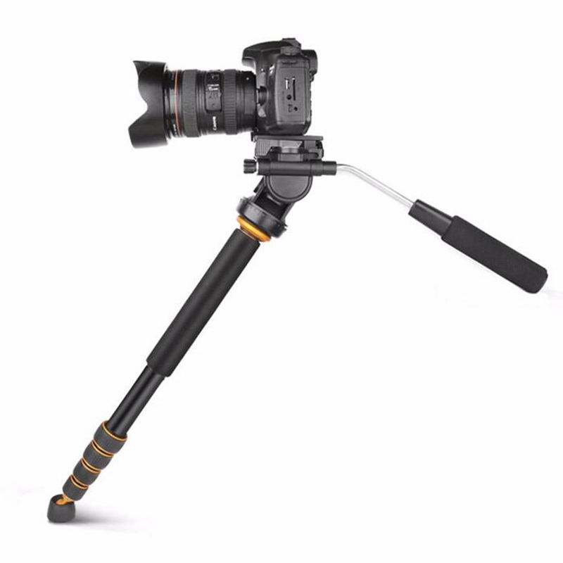 Q188 Aluminum Professional Portable Travel Monopod Video Monopod With Fluid Head For Canon Nikon Sony Video Camera Camcorder цена