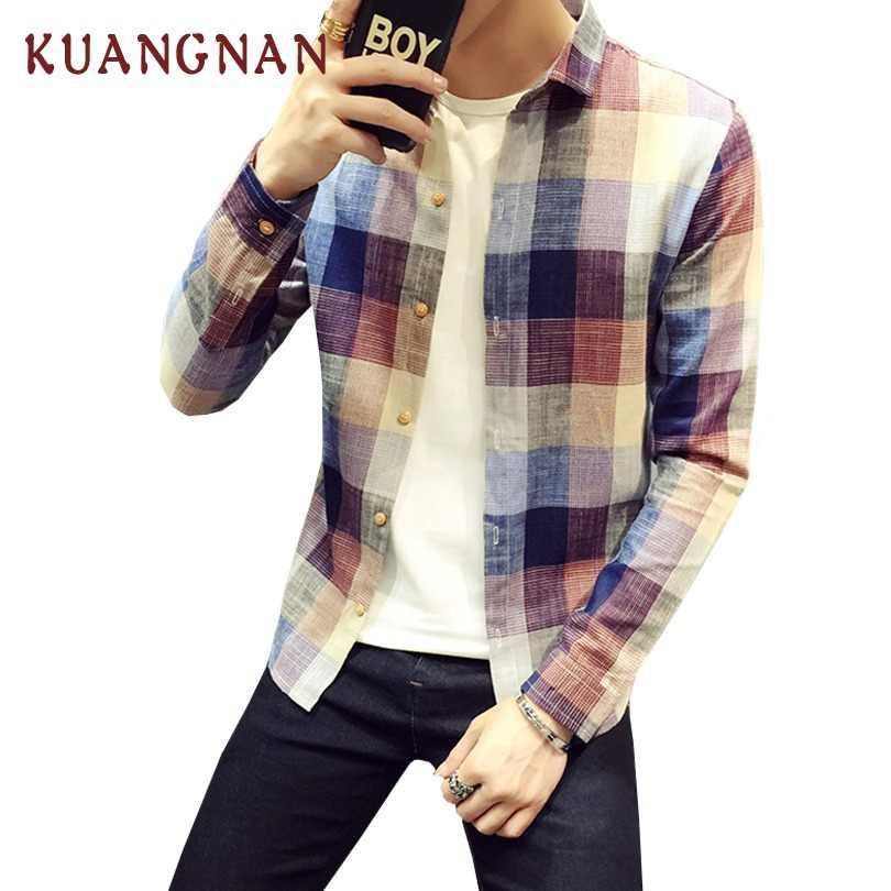 KUANGNAN チェック柄のメンズシャツ長袖カジュアルスリムフィットストリート男性のシャツの男コットンリネンチェック柄シャツ男性服 2019 新しい
