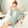 Новый Розовый Китайских Женщин Хлопок Халат Печатных Животных Ночной Рубашке Домашнее Платье Summer Lounge Пижамы Халат Платье Цветочные М-2XL