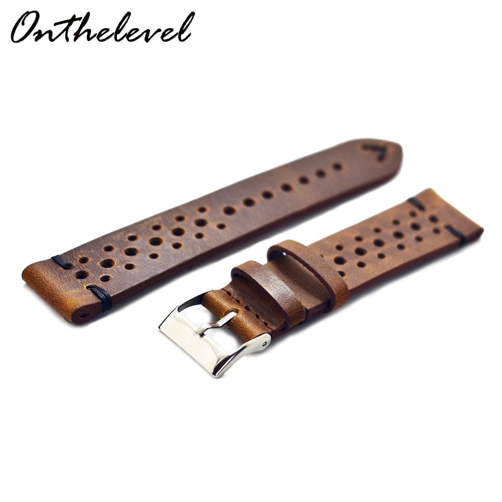 KZFashion Retro Black Line Genuine Leather Watchband Calfskin Watch Straps  Colors  20mm 24mm New Style