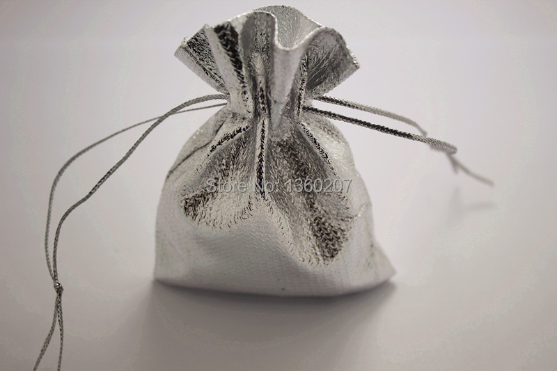 100pcs/lot 7x9cm Shiny Silver Satin Gift Bags Organza Candy Jewelry Bag Packing With Drawstring