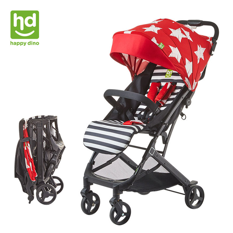 Happy Dino Lightweight Umbrella Baby Stroller Sit/Lie Foldable Pram Can Take to Plane Adjustable Pushchair for Newborn light foldable baby stroller 3 in 1 cozy can sit and lie lathe umbrella car stroller carry bag 4 colour three wheels single seat