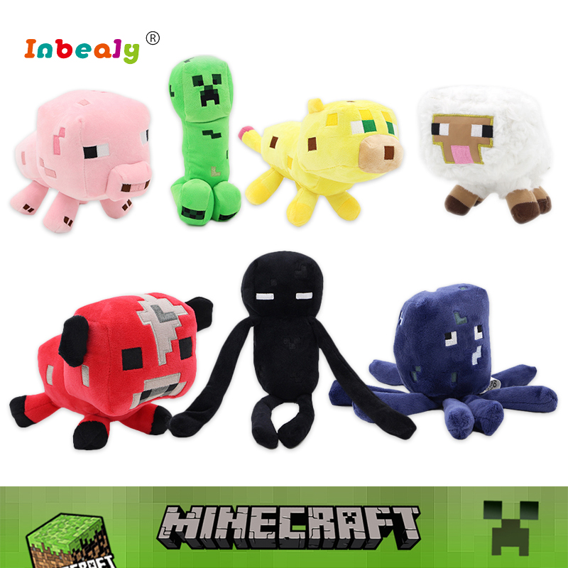 21 Style Minecraft Plush Toys Minecraft Creeper Enderman Wolf Steve Zombie Spider Soft Stuffed Animal Doll Toy for Children Gift northern europe style double 3d printing ins doll plush sofa stuffed animal child toys birthday xams gift dash pillow cushion