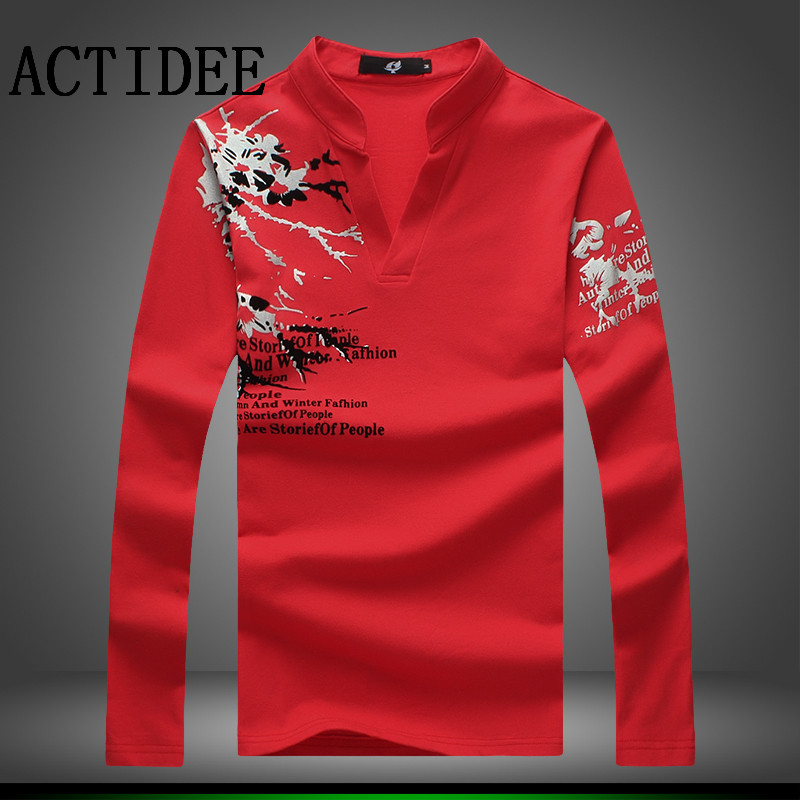 130ab8a1f New Fashion Brand Trend Print Slim Fit Long Sleeve T Shirt Men Tee V Neck  Casual Men T Shirt Cotton T Shirts Plus Size M 5XL 5Z-in T-Shirts from Men's  ...