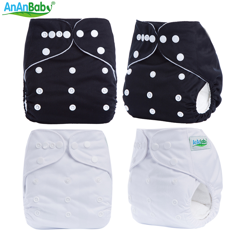 2017 Washable AnAnBaby Plain Color Double Row Snaps One Size Fit All Reusable 10pcs Baby Diapers Nappies