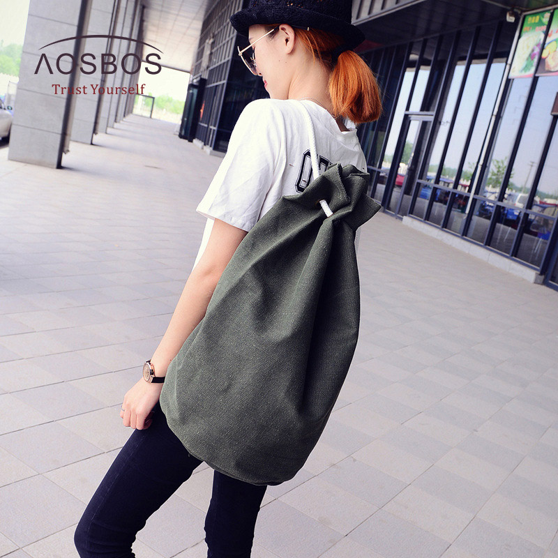 Canvas Sports Bags Drawstring Gym Bag Lanyard Bucket Fitness Bags For Women/Men Outdoor Basketball Backpack Training Bag