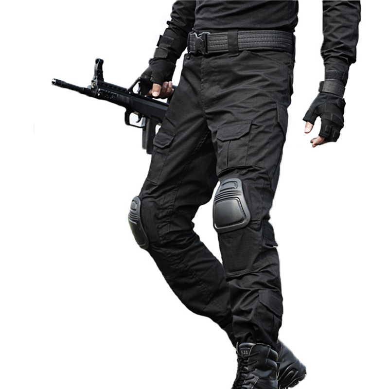 Military Tactical Pants Knee Pads Cargo Pants Mens Special Forces Pantalon Army Work Combat CS Homme Black Camouflage Trousers