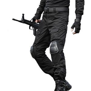 Image 1 - טקטי מכנסיים גברים צבאי הסוואה Pantalon צפרדע מטען מכנסיים ברך רפידות לעבוד מכנסיים צבא צייד SWAT Combat מכנסיים