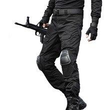 戦術的なパンツ男性軍の迷彩パンタロンカエル貨物パンツ膝パッド作業ズボン陸軍ハンター SWAT 戦闘ズボン