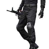 Taktik Pantolon Askeri kargo Pantolon Erkek Kamuflaj Pantalon Çalışma Pantolon Diz Pedleri Ordu Hunter SWAT Özel Asker Savaş Pantolon