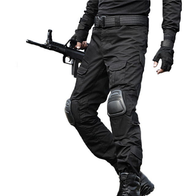 Taktik Pantolon Erkekler Askeri Kamuflaj Pantalon Kurbağa Kargo Pantolon Diz Pedleri Iş Pantolon Ordu Avcı SWAT Savaş Pantolon