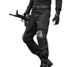 Wojskowe taktyczne Spodnie Mężczyźni kamuflaż Pantalon Frog Cargo Spodnie Ochraniacze na kolana praca spodnie Army Hunter SWAT Combat spodnie tanie tanio Mężczyzn Pełna długość MWKZ002 Wojskowych Połowie Luźne ANIOŁ ŻOŁNIERZ Sukno Płaskie Poliester Spodnie cargo
