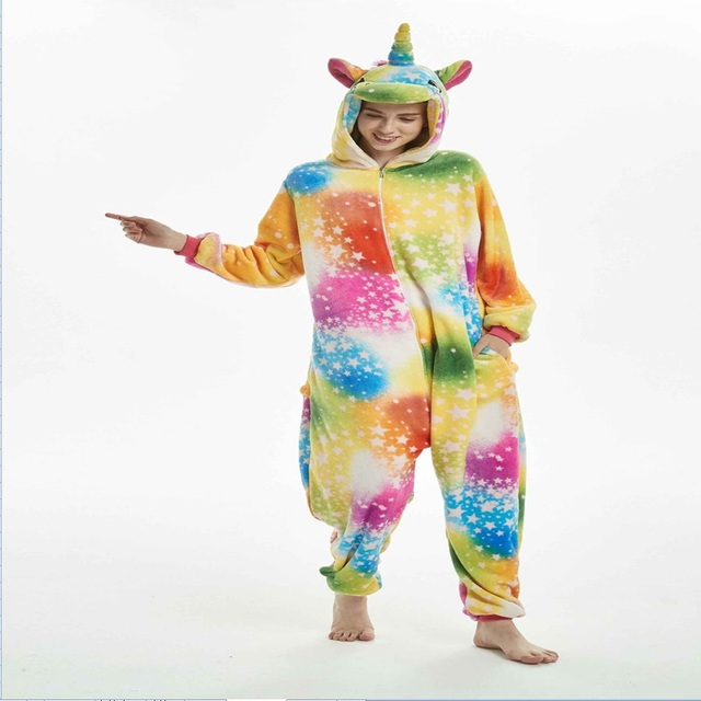 285404888df4 Kigurumi Onesies Cosplay Adult Onesie Wholesale Animal Stitch Star Unicorn  Adult Sleepwear Halloween Women Men Warm Hooded