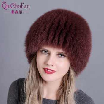 women winter fur hat genuine fox fur hats knitted silver fox fur caps female russian bomer caps free shipping - DISCOUNT ITEM  34% OFF All Category