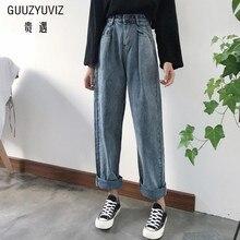 GUUZYUVIZ, свободные винтажные женские джинсы,, Осенние, отбеленные, повседневные, Boyfriend Curl, джинсовые Широкие штаны, большие, с высокой талией, джинсы