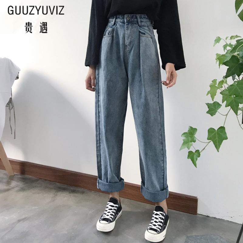 GUUZYUVIZ Loose Vintage Woman Jeans 2017 Autumn Bleached Casual Boyfriend Curl Denim Wide Leg Pants Oversize High Waist Jean