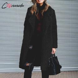 Conmoto Women Winter Suede Jacket 2019 Fashion Teddy Bear Caramel Long Coat Female Long Sleeve Faux Fur Coat Fluffy Outerwear 5