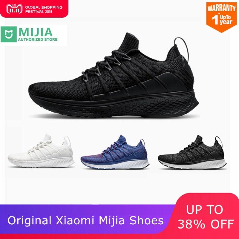 Original Xiao mi jia hombres zapatos inteligentes para correr 2 deportes al aire libre mi zapatillas transpirables aire malla gimnasio elástico tejido Vamp Tenis