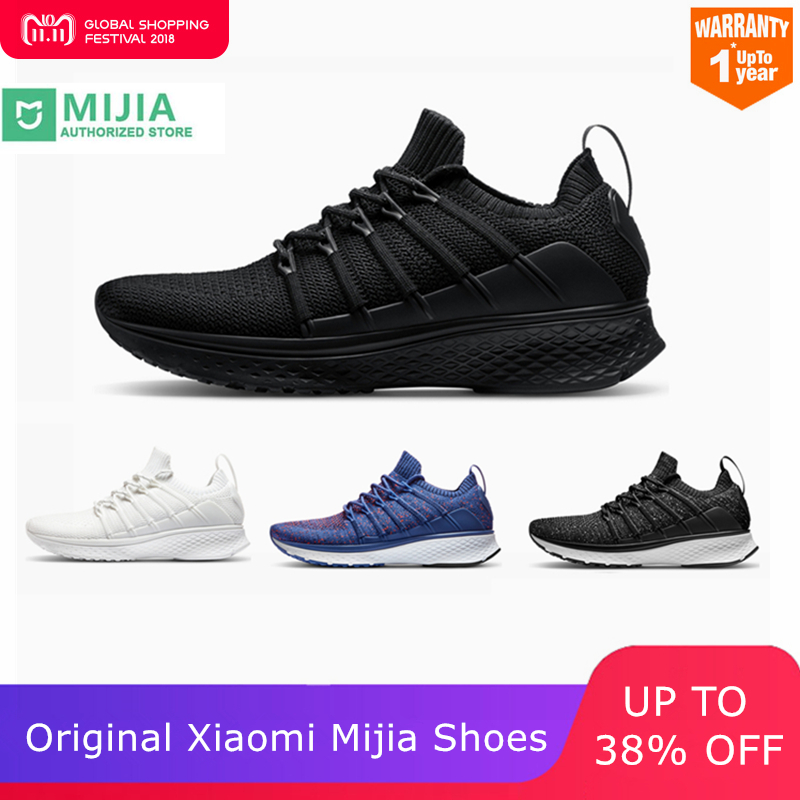 Original Xiao mi mi jia hommes chaussures de course intelligentes 2 Sport de plein Air mi baskets respirant Air Mesh Gym élastique tricot Vamp Tennis
