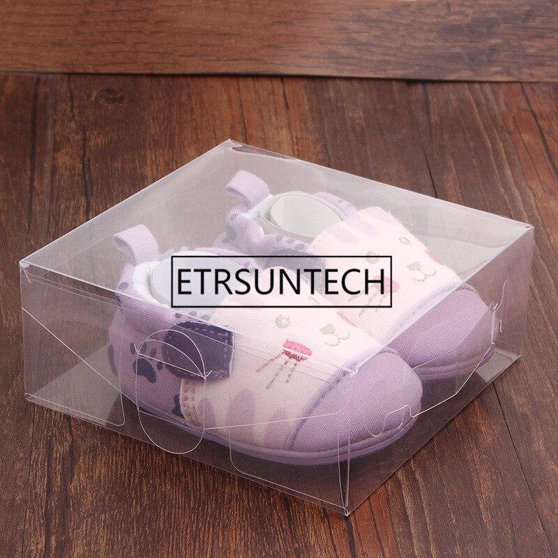 200 unids/lote 12*12*5 cm caja de zapatos de plástico transparente de PVC para bebés caja de embalaje al por menor decoración de embalaje transparente cajas-in Suministros de envoltorios y bolsas de regalo from Hogar y Mascotas    1