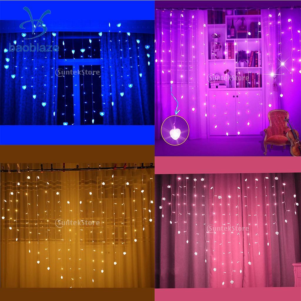 Indoor 124-led Love Heart Curtain Fairy String Light Xmas Tree Wedding Decorative US Warm White