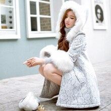 Original 2016 Brand Lace Winter Down Jacket Plus Size Manteau Femme Ukraine Slim Elegant Women Long Fur Hooded Parka Wholesale