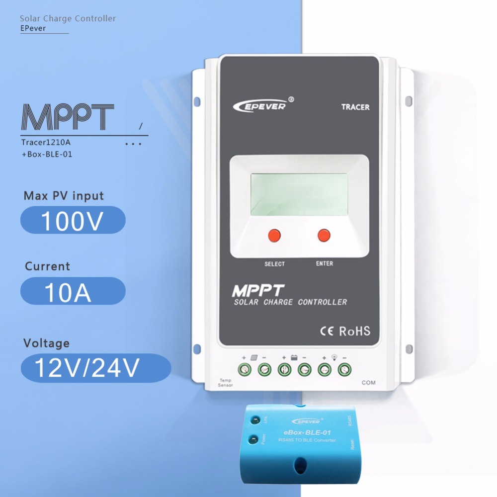 MPPT 10A Tracer 1210A with EBOX-BLE-01 Solar Charge Controller 12V/24V Auto LCD Display Light and Timer Controller PV Regulator 12v 24v 40a mppt pwm solar regulator with lcd display usb intelligent streetlight three time solar charge controller y solar