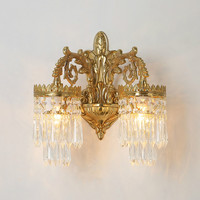 Free Shipping Bronze European style Brass Lamp Wall Light 110V~220V AC 100% Copper Indoor Lighting Classical Vintage Wall Sconce