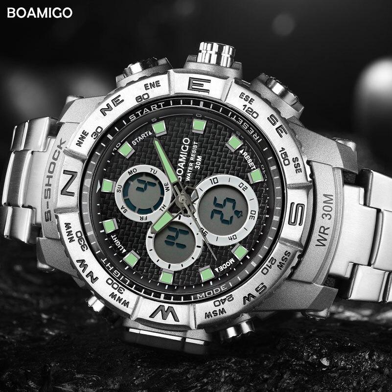 2cf9d4fb0b8 S SHOCK men sport relógios de aço LED relógio digital analógico quartz  watch BOAMIGO marca relógio cronógrafo data auto 30 m à prova d  água em  Relógios ...