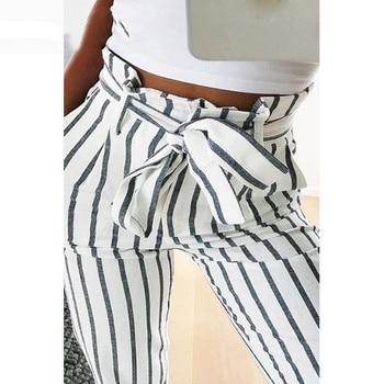 Skinny femmes rayé Long Jeans cravate taille haute dames pantalon pantalon pantalons pantalons de Style coréen Mujer femmes pantalon