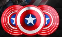 Fret Turn Decompress Stun Wonder Metal Finger Spin American Captain Shield Toy Three Hand Spin Top