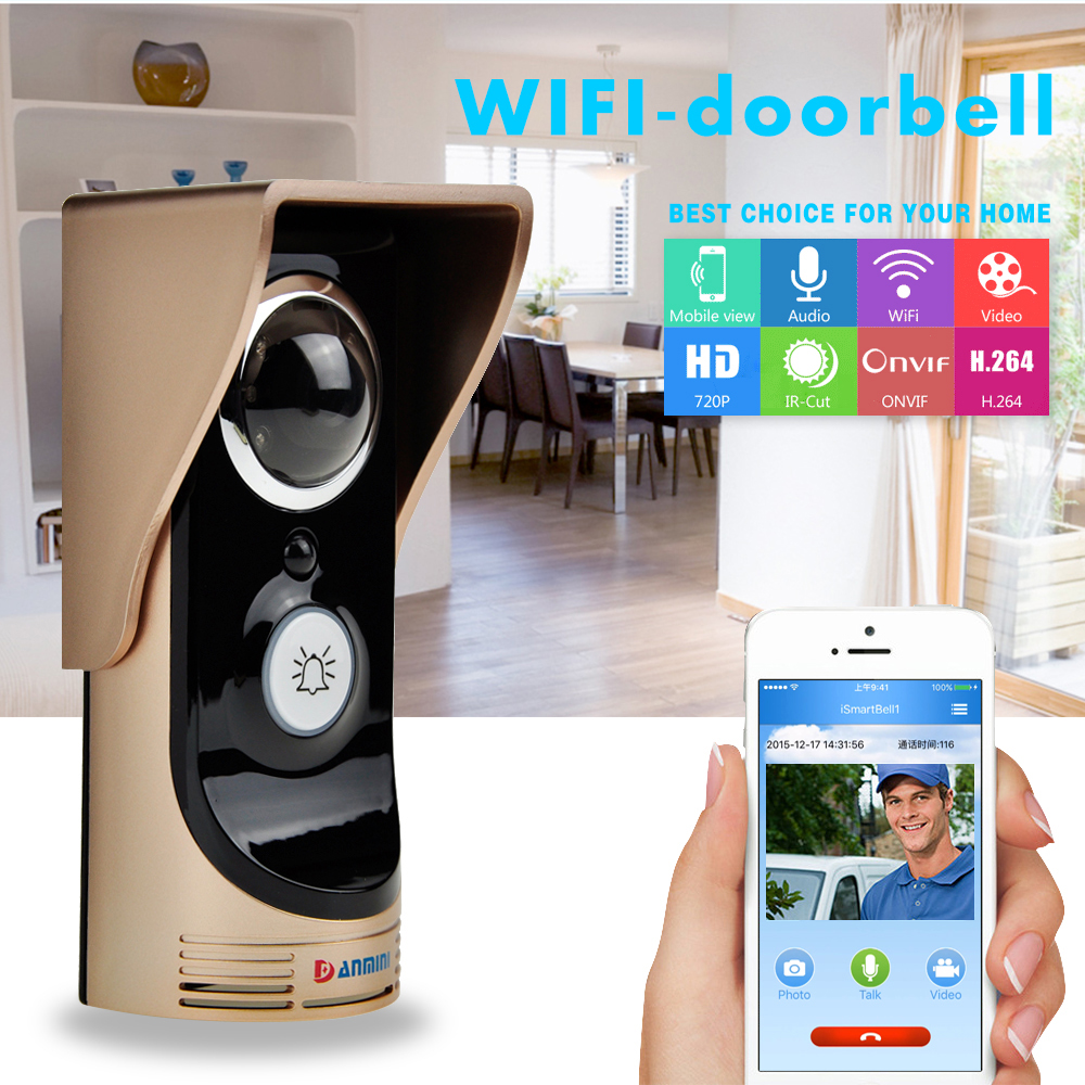 (1 Set) Door Intercom Support Andriod IOS Application Control Photo Video WIFI Door phone Wireless Doorbell PIR Sensor Alarm 2016 new wifi doorbell video door phone support 3g 4g ios android for ipad smart phone tablet control wireless door intercom