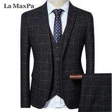 La MaxPa (jaqueta + calça + colete) marca terno dos homens casuais primavera outono casual slim fit partido do vestido de casamento do noivo negócios terno grade
