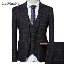 La MaxPa (jacket+pants+vest) Brand casual men suit spring autumn casual slim fit groom party wedding dress business grid suit