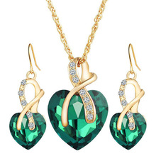 Romantic heart crystal earrings necklace set gold chain jewelry set wedding jewelry Valentine gift jewellery sets for women O35 недорого