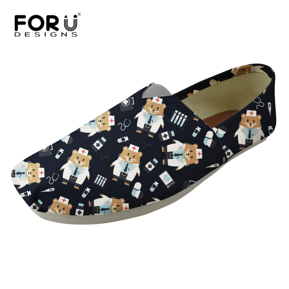 FORUDESIGNS Trend Fashion 2018 Cartoon Nurse Bear Flats Women Casual Shoes Stylish Slip-on Women Flats Soft Lightweight Loafers forudesigns women casual sneaker cartoon cute nurse printed flats fashion women s summer comfortable breathable girls flat shoes