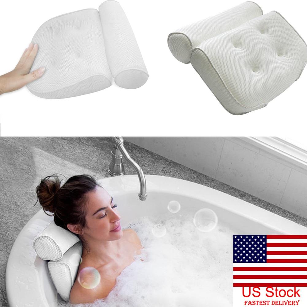HTB1WoXwayfrK1RjSspbq6A4pFXa1 High Quality Bath Tub Spa Pillow Cushion Neck Back Support Foam Comfort Bathtub 6 Suction Cup