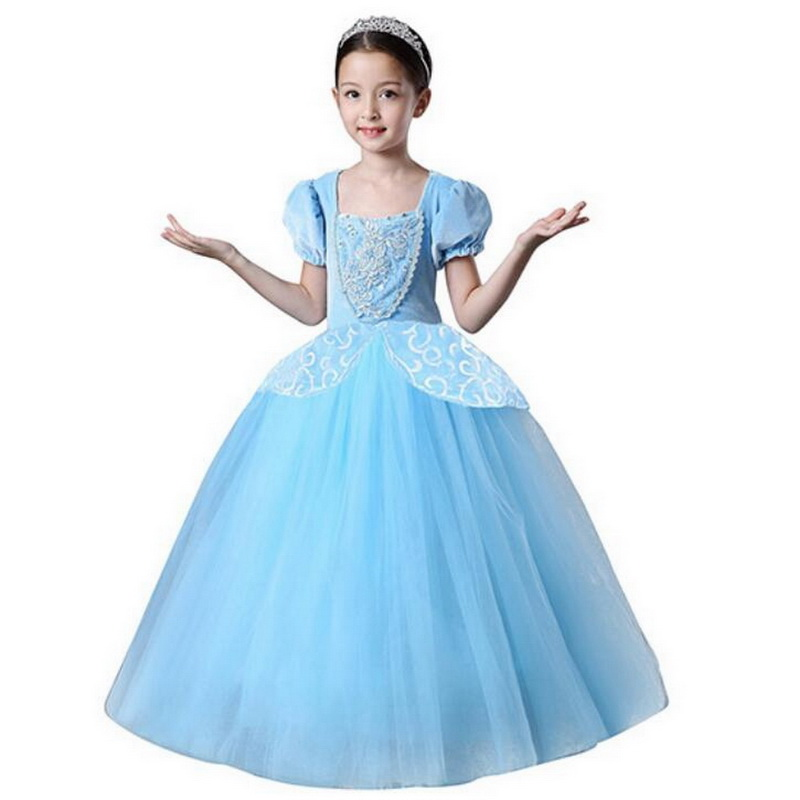 Girls Princess Cinderella Party Deluxe Costume Dress-Up Blue Dress Puff Sleeve Tutu Dresses Children Christmas Cosplay Costume