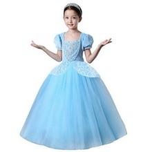 Girls Princess Cinderella Party Deluxe Costume Dress-Up Blue dress Puff Sleeve Tutu Dresses Children Christmas Cosplay Costume недорого